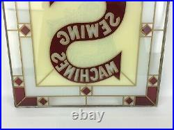 Vintage Singer Sewing Machine Stained Glass Hanging Advertising Sign 17.5 x 16