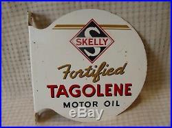 Vintage Skelly Fortified Tagolene Motor Oil 2-Sided Painted Metal Flange Sign