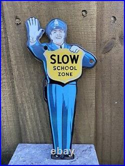 Vintage Slow School Zone Crossing Guard Porcelain Metal Sign USA Police Officer