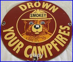Vintage Smokey The Bear Sign Caming National Park Service Ranger Rei Gas Oil