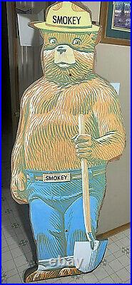 Vintage Smokey The Bear Sign Large Orginal Old Forestry Fire Fighting Sign Wood