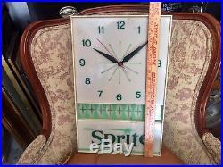 Vintage Sprite Soda Pop Lighted Wall Clock Advertising Sign