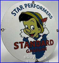 Vintage Standard Gasoline Porcelain Sign Gas Station Pump Plate Disney Pinocchio