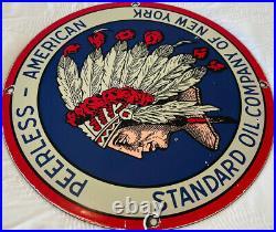 Vintage Standard Oil Co Porcelain Sign Gas Station Pump Plate Peerless American