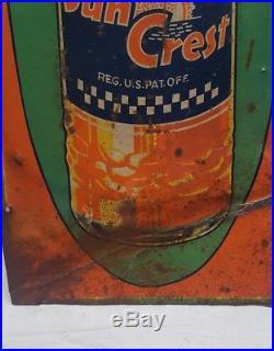 Vintage Sun Crest Orange Soda Pop Gas Oil 21 Embossed Metal Sign