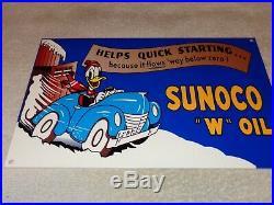 Vintage Sunoco Donald Duck+ Car & Snow 12 Metal Gasoline & Oil Sign Walt Disney