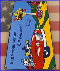 Vintage Sunoco Motor Oil Porcelain Sign Disney Gasoline Pump Plate Mickey Goofy