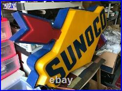 Vintage Sunoco Oil Gas Station Sign light up Antique Vintage Working