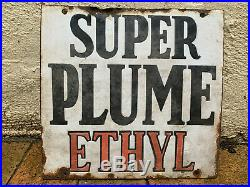 Vintage Super Plume Ethyl Embossed Enamel Sign Garagenalia Mancave
