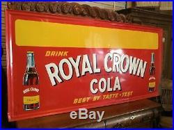 Vintage Super Rare 1936 Drink Royal Crown Cola Huge Embossed Sign 69 By 34