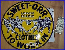 Vintage Sweet-Orr Work Clothes Overalls Blue Jeans 18 Porcelain Flange Sign