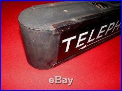 Vintage Telephone Lighted Sign Art Deco Arrow Antique Back Lit Nice Original