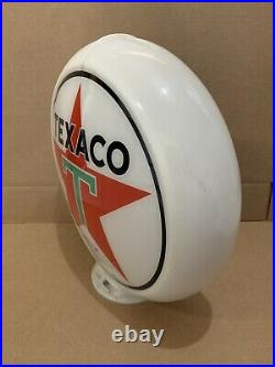 Vintage Texaco Gas Pump Globe Glass Top Sign Lens Garage Wall Decor Oil Truck