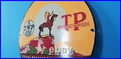 Vintage Texas Pacific Coal Oil Porcelain Horse & Indian Chief Teepee Gas Sign