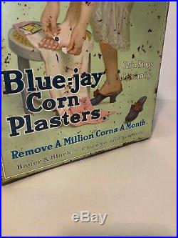 Vintage Tin Sign Store Display Case Advertising Box BLUE-JAY CORN PLASTERS 1930s