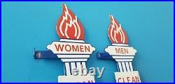 Vintage Two Standard Gasoline Porcelain Gas Service Station Torch Restroom Signs