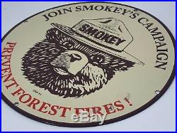Vintage USA 53 Smokey The Bear Porcelain Sign Oil Gas Station Advertising Sign