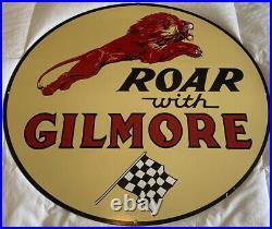 Vintage Very Large Gilmore Sign 36 Dia Gasoline Motor Oil Gas Station Service