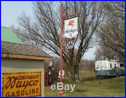 Vintage White Star Mobil gas station sign and pole. Extremely Rare