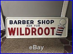 Vintage Wildroot Barber Shop Tin Sign
