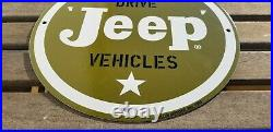 Vintage Willy's Jeep Porcelain Gas Auto 4 Wheel Drive Service Dealership Sign