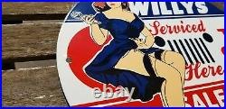 Vintage Willy's Jeep Porcelain Gas Automobile 4 Wd Service Here Sales Pump Sign