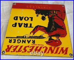 Vintage Winchester Porcelain Sign, Ammo, 12 Gauge Shells, Bird Hunting, Shot Gun