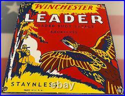 Vintage Winchester Porcelain Sign Ammo 12 Gauge Shot Gun Shells Bird Hunting Dog