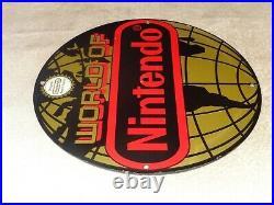 Vintage World Of Nintendo Original Nes 11 3/4 Porcelain Metal Mario System Sign