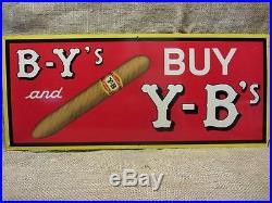 Vintage Y-B Cigar Sign RARE Antique Signs Smoke Cigarette Deep Color 9235