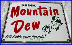 Vintage Ya-hoo! Mountain Dew Hillbilly Porcelain Sign Pepsi Bottle Soda Pop Jug