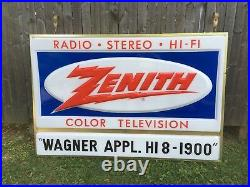 Vintage Zenith Color TV Television Radio Hi Fi Stereo Lighted Double Sided Sign