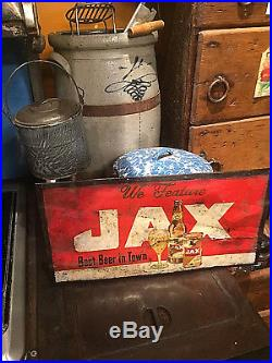 Vintage early Jax Beer Metal sign With Bottle and Can Lone Star Pearl Texas