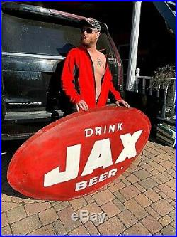 Vintage early Lg 69X40 Jax Beer Oval Bubble sign Lone Star Texas New Orleans LA