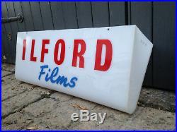 Vintage illuminated sign Ilford film cameras shop display classic Essex man cave