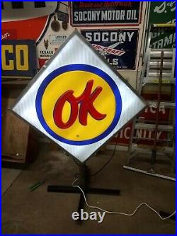 Vintage original CHEVROLET CHEVY OK USED CARS Lighted AUTO Dealer SIGN 3' x 6