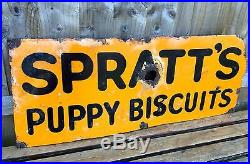 Vintage -spratts Puppy Biscuits- Enamel Dog Hound Pet Food Shop Advertising Sign