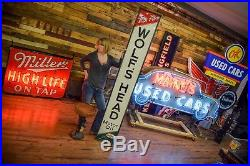 Vintage wolf's head sign Early Wood Framed rare 1930's Gas Station Oil Station