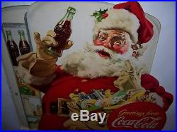 Vtg 1948 Coca Cola Santa Claus Christmas Cardboard Stand Up Advertising Sign