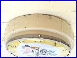 Vtg 1950's Frisch's Big Boy Restaurant Lighted Clock Light Advertisement Sign
