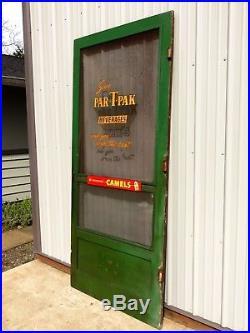 Vtg 30s-40s GENERAL STORE WOOD SCREEN DOOR Advertising PAR-T-PAK BEVERAGES SIGN
