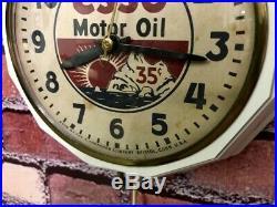 Vtg Antique Ingraham Esso Oil Advertising Old Gas Station Garage Wall Clock Sign