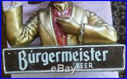 Vtg BURGERMEISTER bust/statue beer man promo/advertising sign san francisco