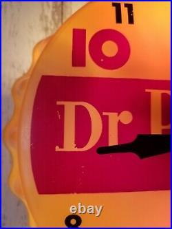 Vtg Dr Pepper 10 2 4 Bottle Cap Electric Light Clock Advertising sign 11 Works
