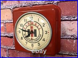 Vtg Ge Farmall Tractor Old Farm Store Advertising Oil-gas Garage Wall Clock Sign