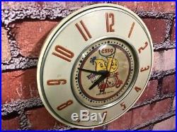 Vtg Ge-telechron Old Advertising Esso Oil-gas Station Garage Wall Clock Sign