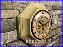 Vtg Gilbert Planters Peanuts Old Bar-pub Advertising Display Wall-oil Clock Sign