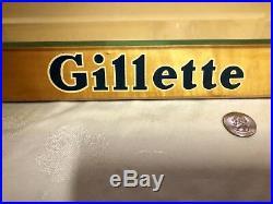 Vtg Gillette Razor Blade Store Counter Top Wooden Display Case Barber Shop Sign