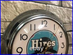 Vtg Ingraham Hires Root Beer Soda Old Chrome Diner Advertising Wall Clock Dad's