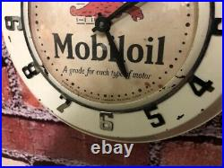 Vtg Ingraham Mobil Oil-gargoyle Old Gas Station Advertising Wall Clock Sign Gulf